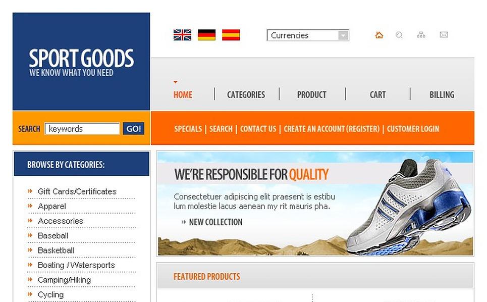 Sports Store OsCommerce Template New Screenshots BIG