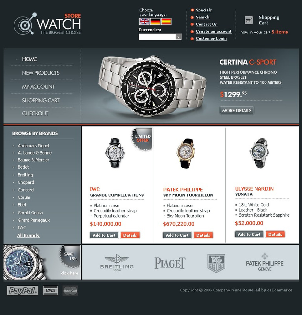 OSCommerce Watch Template with Double Shades