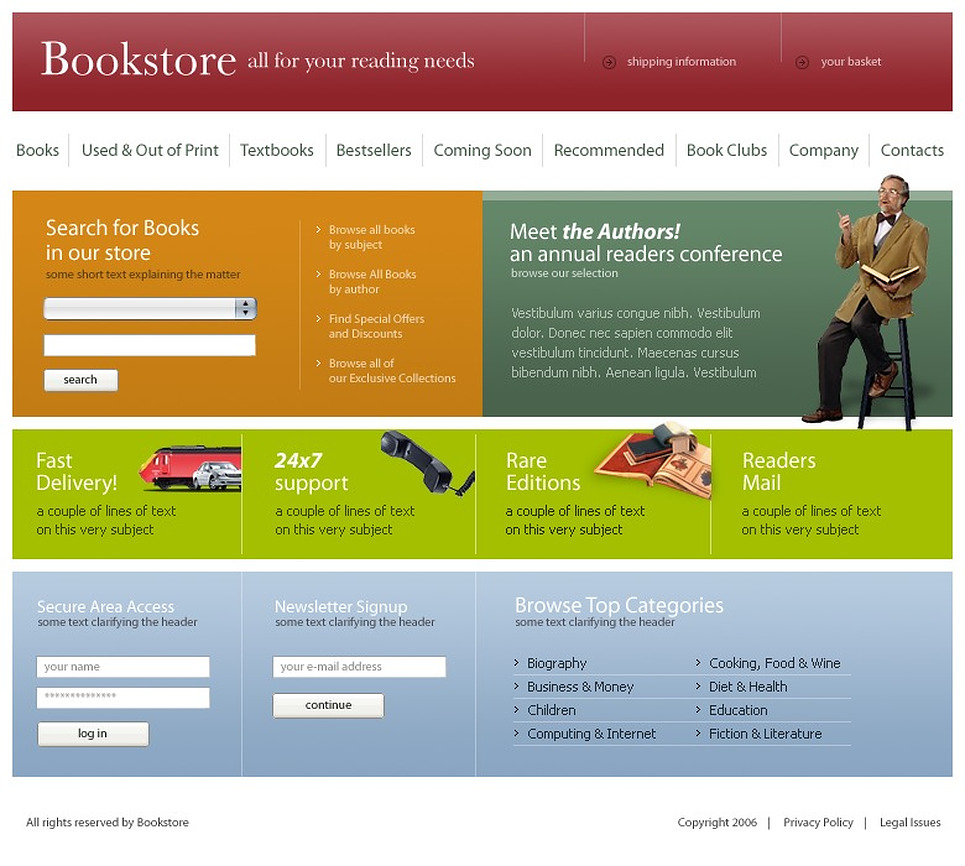 book store website template 10206. Black Bedroom Furniture Sets. Home Design Ideas