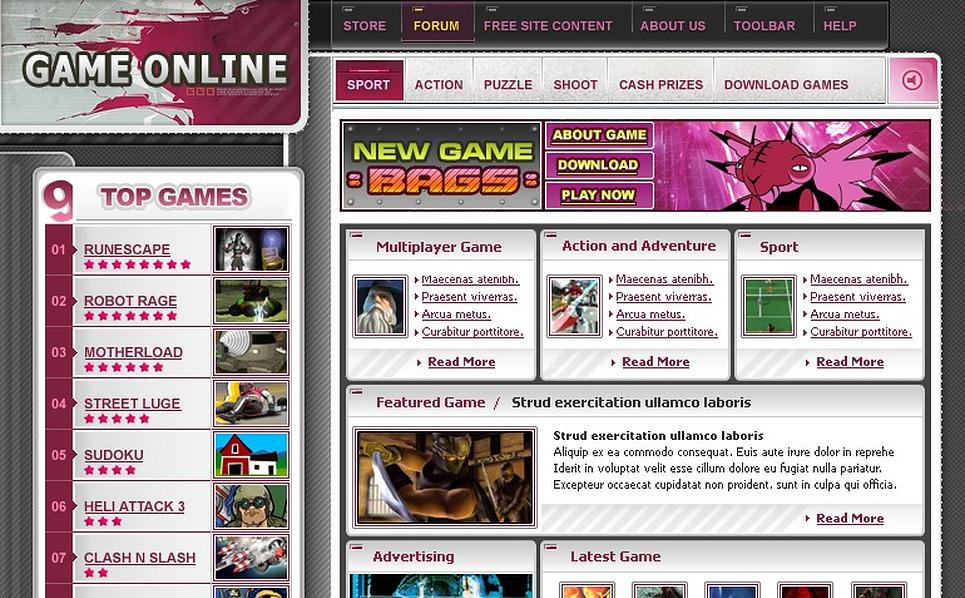 Flash Games Website Template New Screenshots BIG