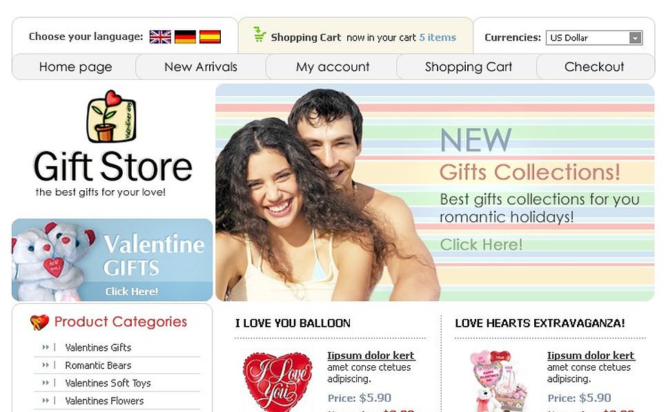 Gifts Store OsCommerce Template New Screenshots BIG
