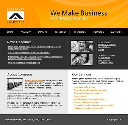 Business Website Template aHomepage photoshop