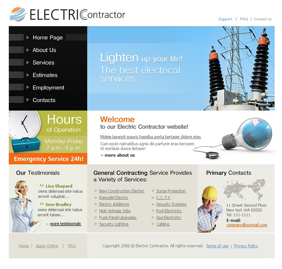 Lighting Amp Electricity Website Template