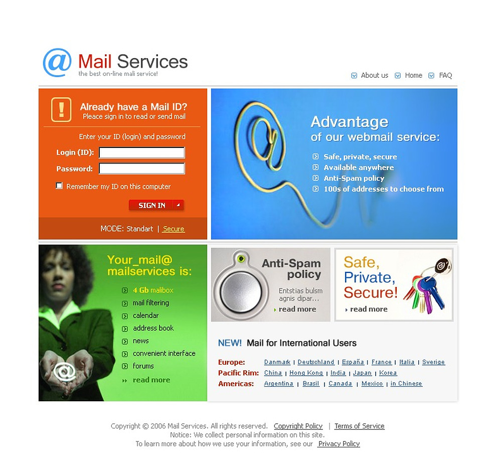 Email Services Website Template New Screenshots BIG