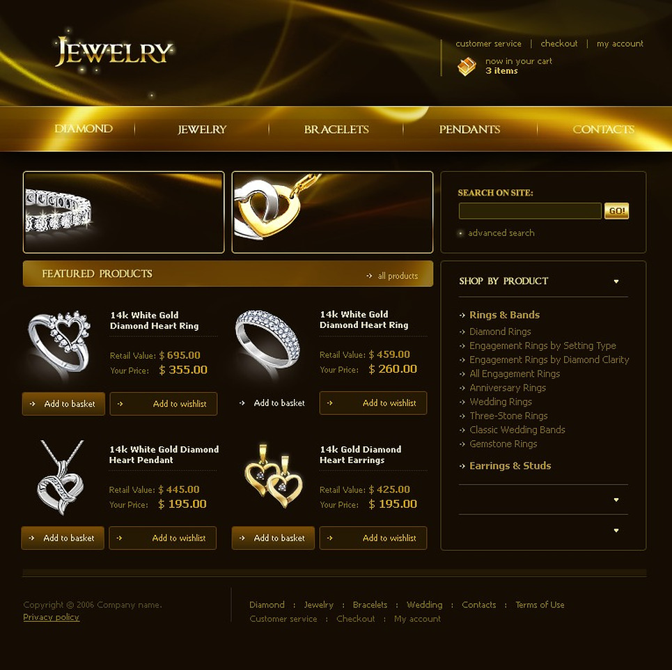 Jewelry website template web design templates website for Home design website free