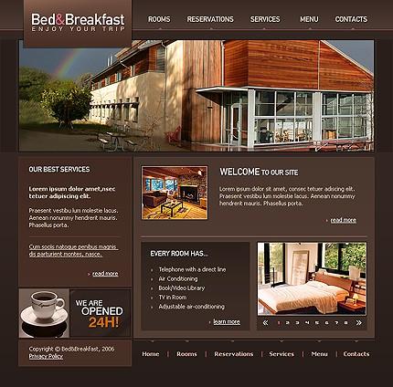 Готовый шаблон html для сайта-визитки гостиницы с формой для бронирования номеров, длительностью проживания в номере