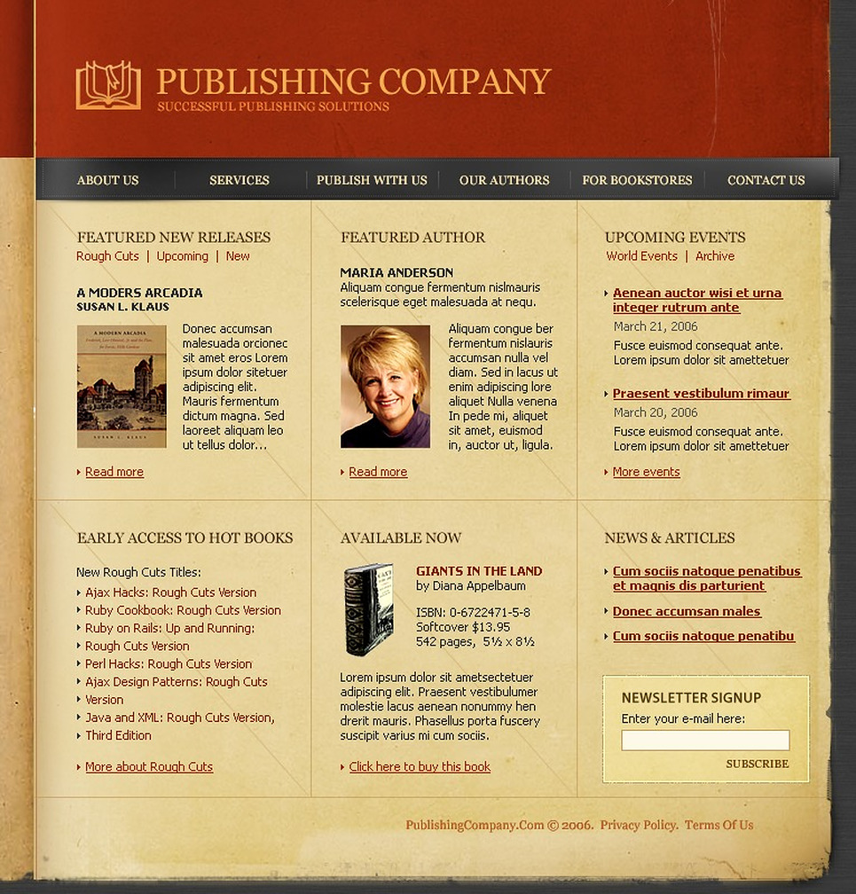 Publishing company website template 11076 for Publisher website templates