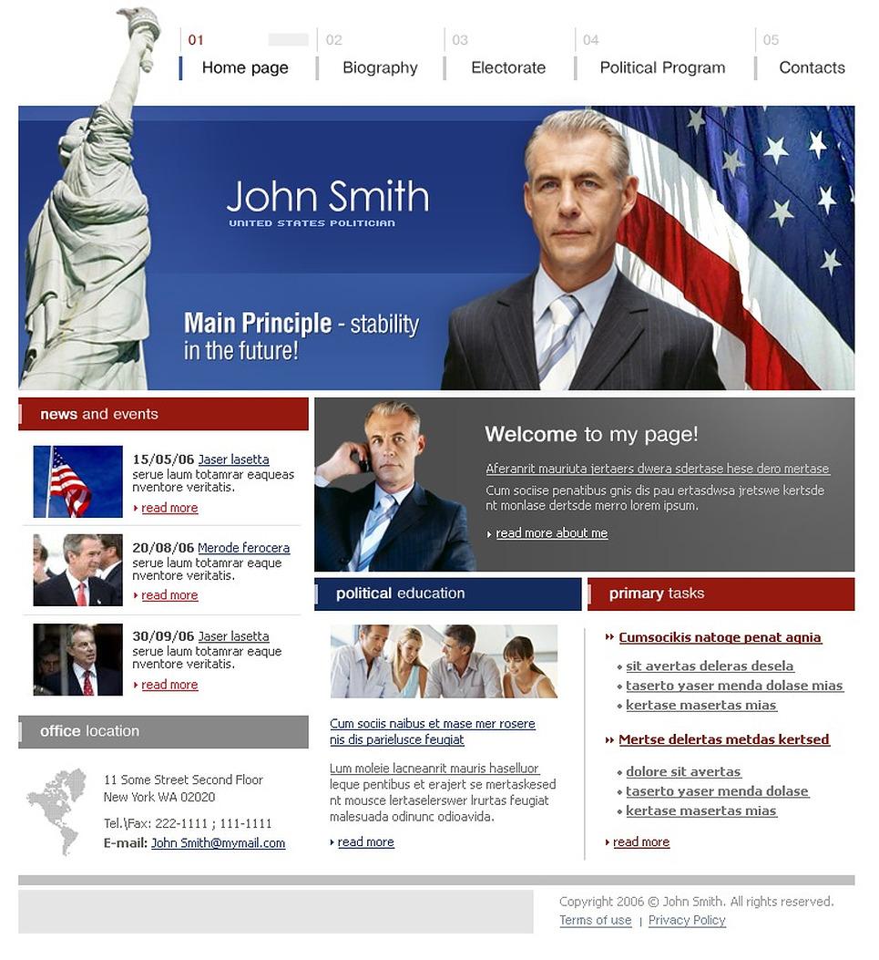 Political Candidate Website Template 11254