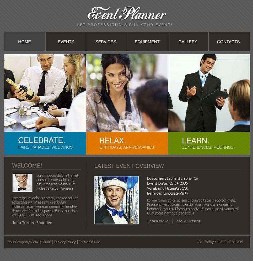 Event planning website templates free