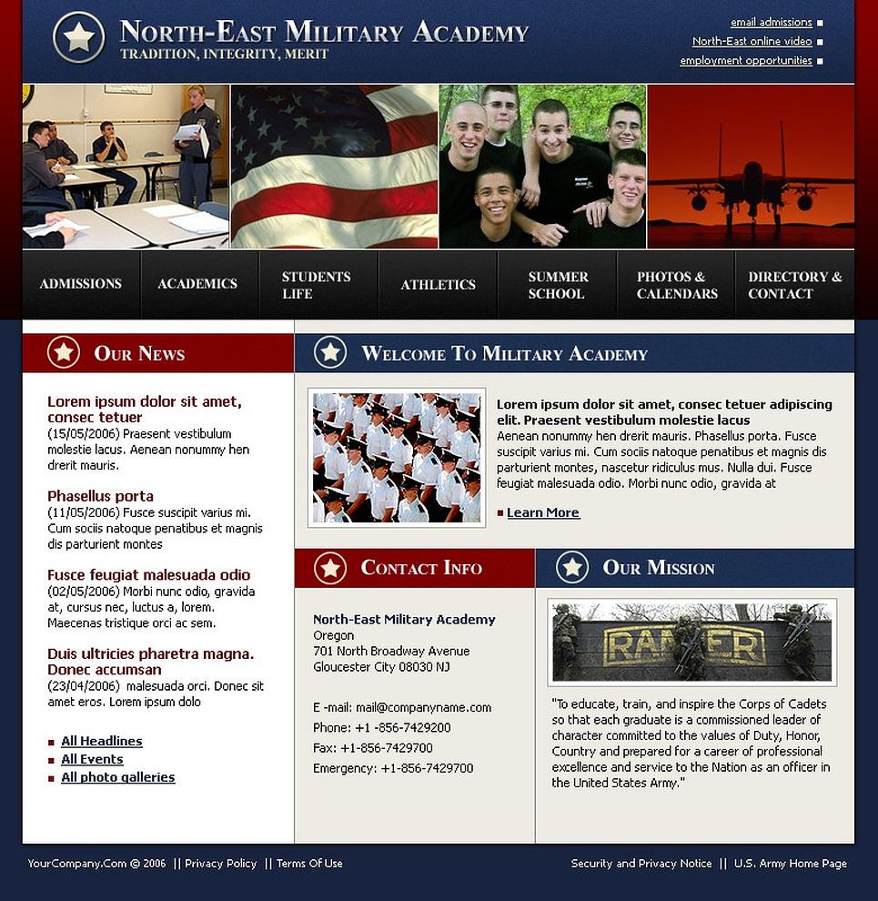 Military Website Template New Screenshots BIG
