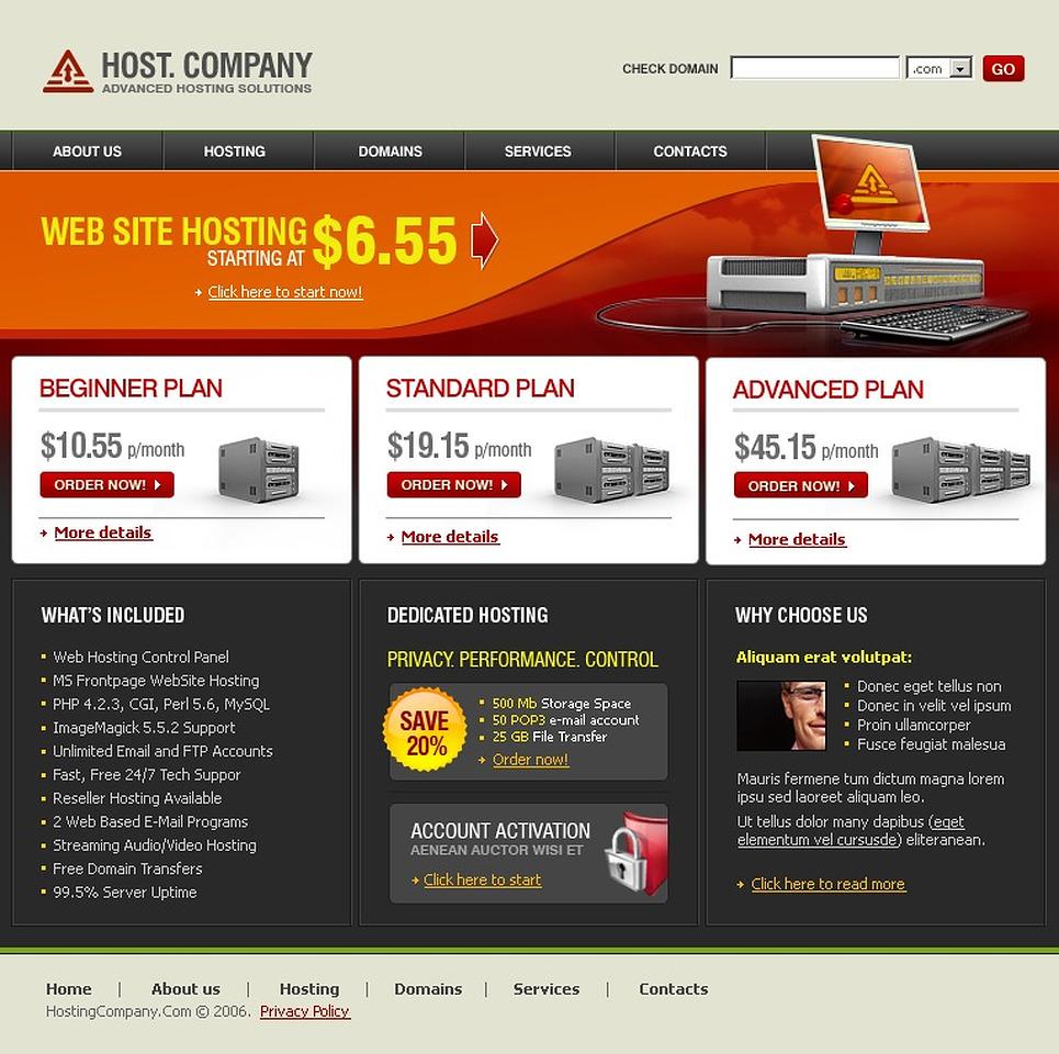 Hosting Website Template New Screenshots BIG
