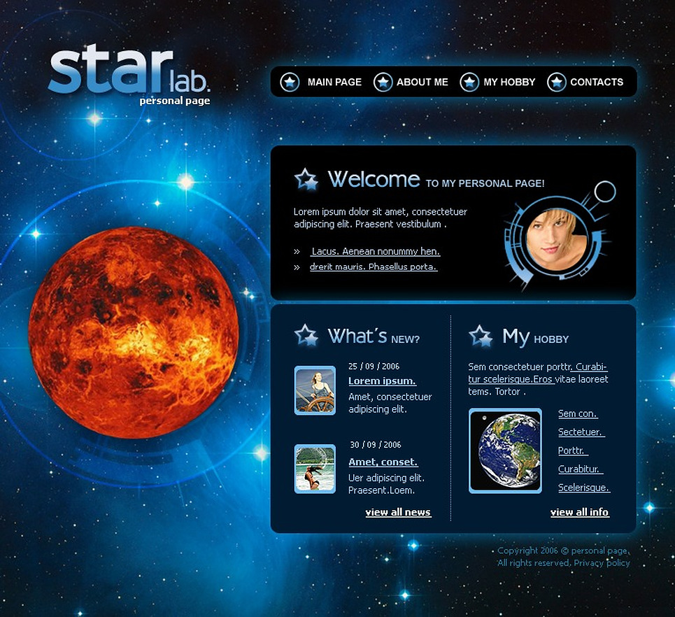 Astronomy Flash Template New Screenshots BIG