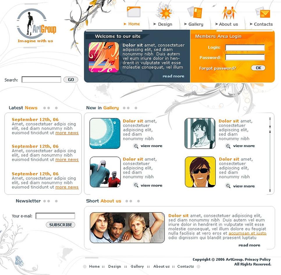 art studio website template 11492. Black Bedroom Furniture Sets. Home Design Ideas