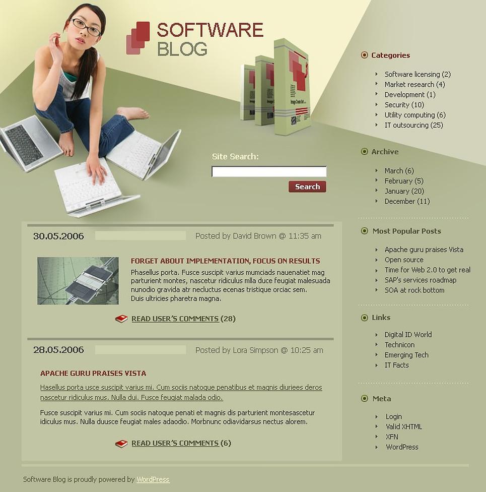 Software WordPress Theme New Screenshots BIG