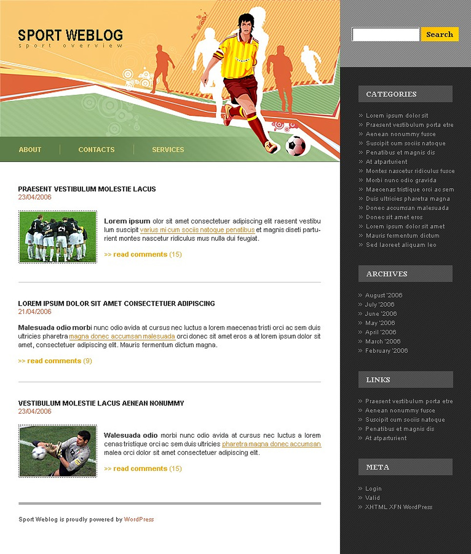 Soccer WordPress Theme New Screenshots BIG