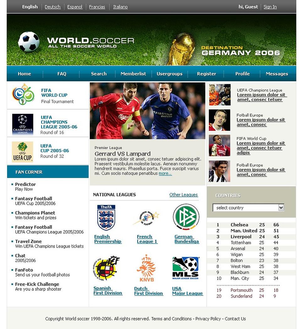 Soccer PhpBB Template New Screenshots BIG