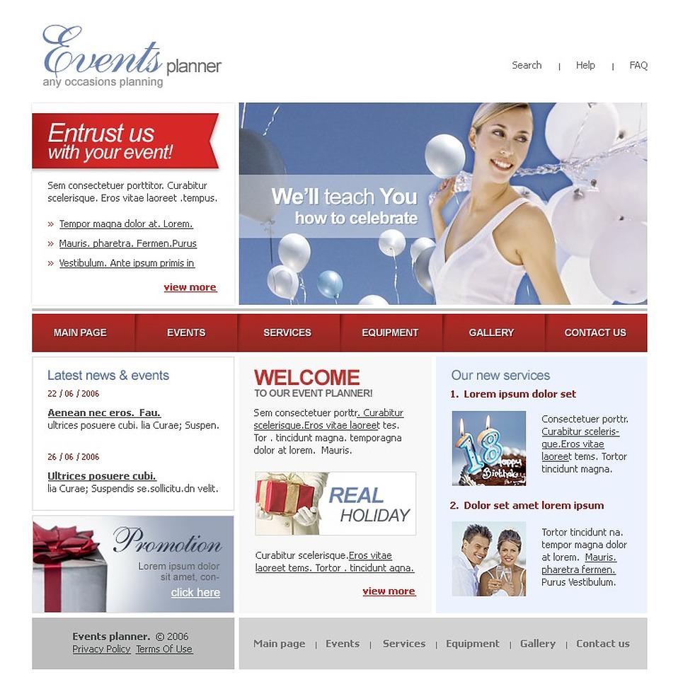 event planner website template 11726. Black Bedroom Furniture Sets. Home Design Ideas