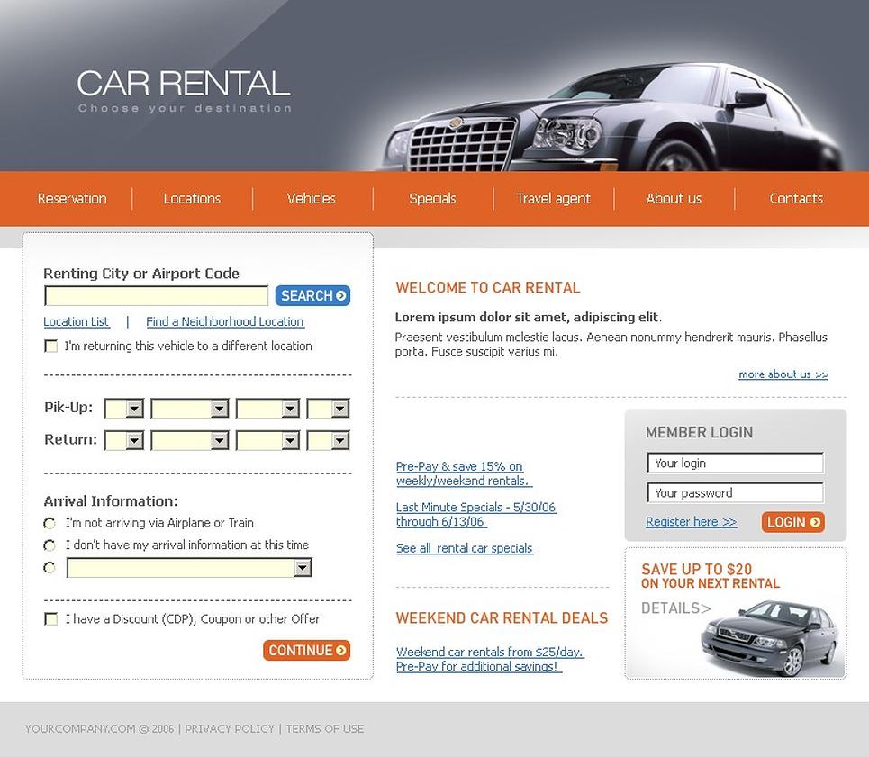 car rental website template 11776. Black Bedroom Furniture Sets. Home Design Ideas