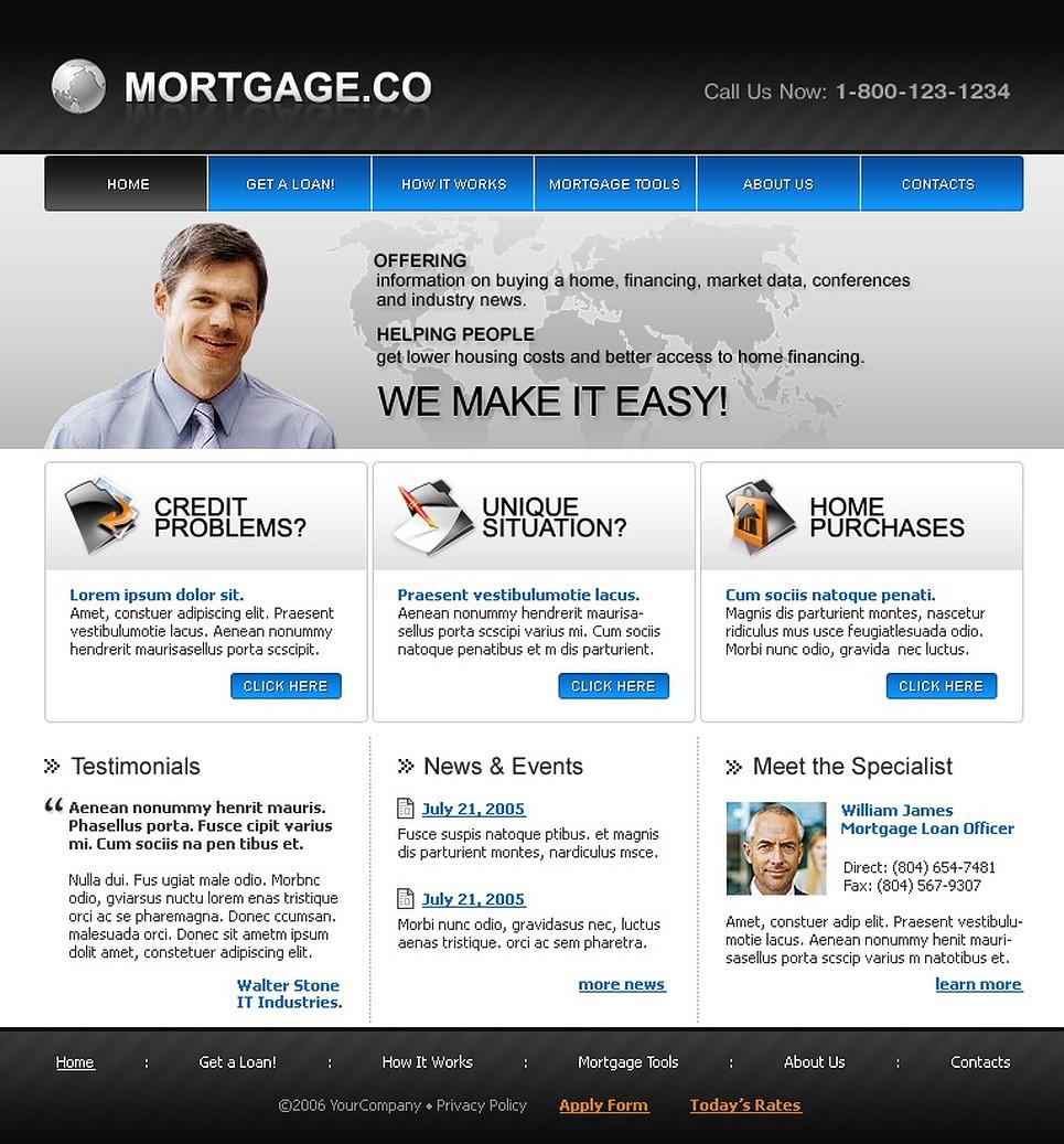 mortgage specialist website template web design templates website templates download. Black Bedroom Furniture Sets. Home Design Ideas
