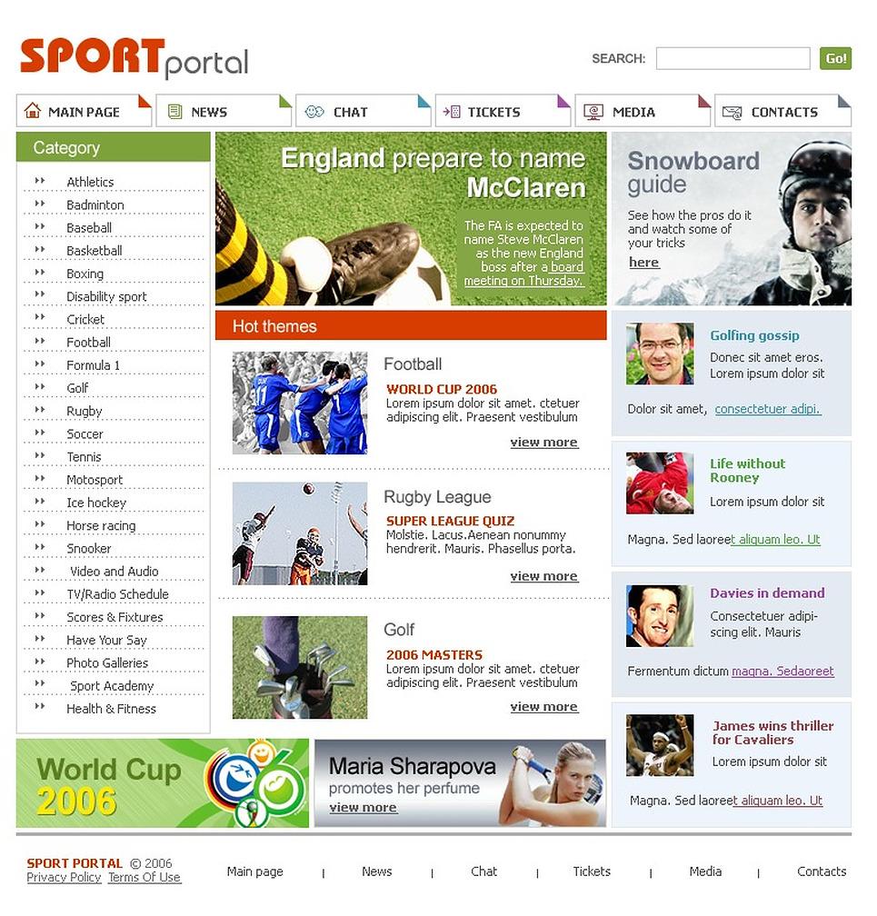 Sport Website Template New Screenshots BIG