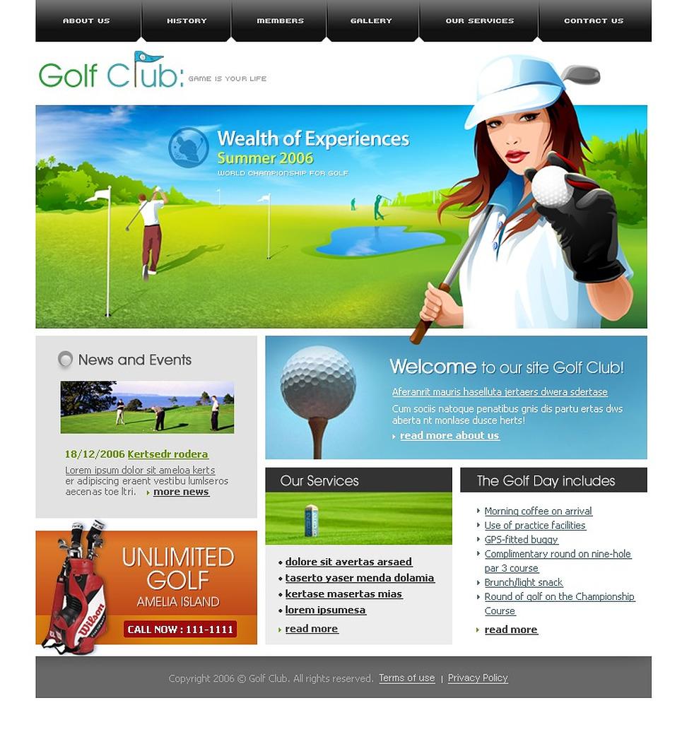 golf website template 11889. Black Bedroom Furniture Sets. Home Design Ideas