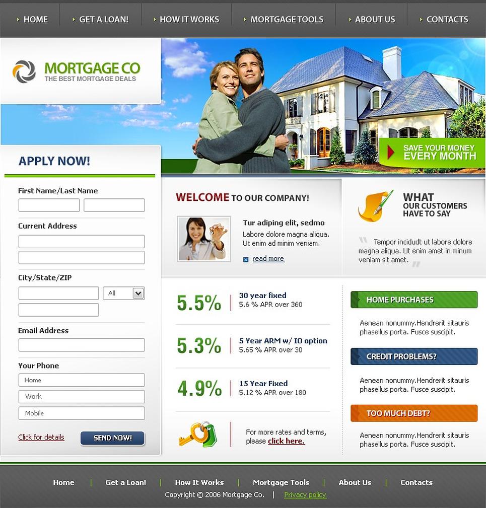 mortgage deals website template web design templates website templates download mortgage. Black Bedroom Furniture Sets. Home Design Ideas