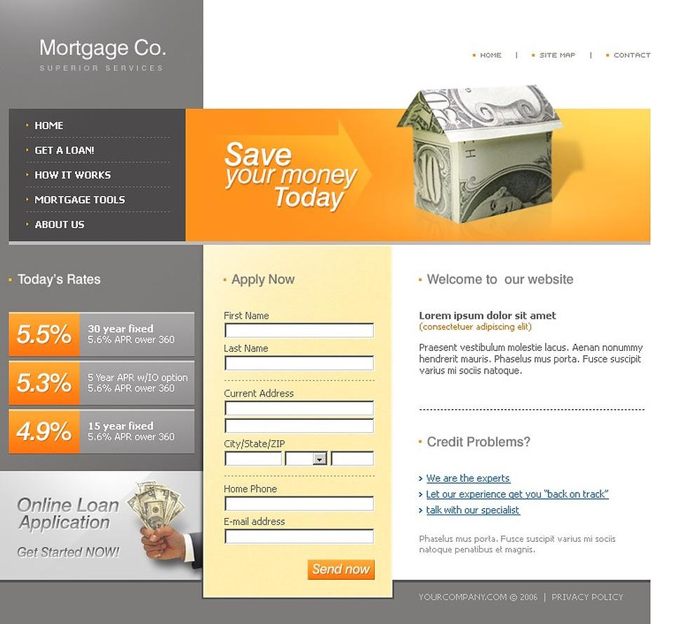 mortgage website template 12035. Black Bedroom Furniture Sets. Home Design Ideas