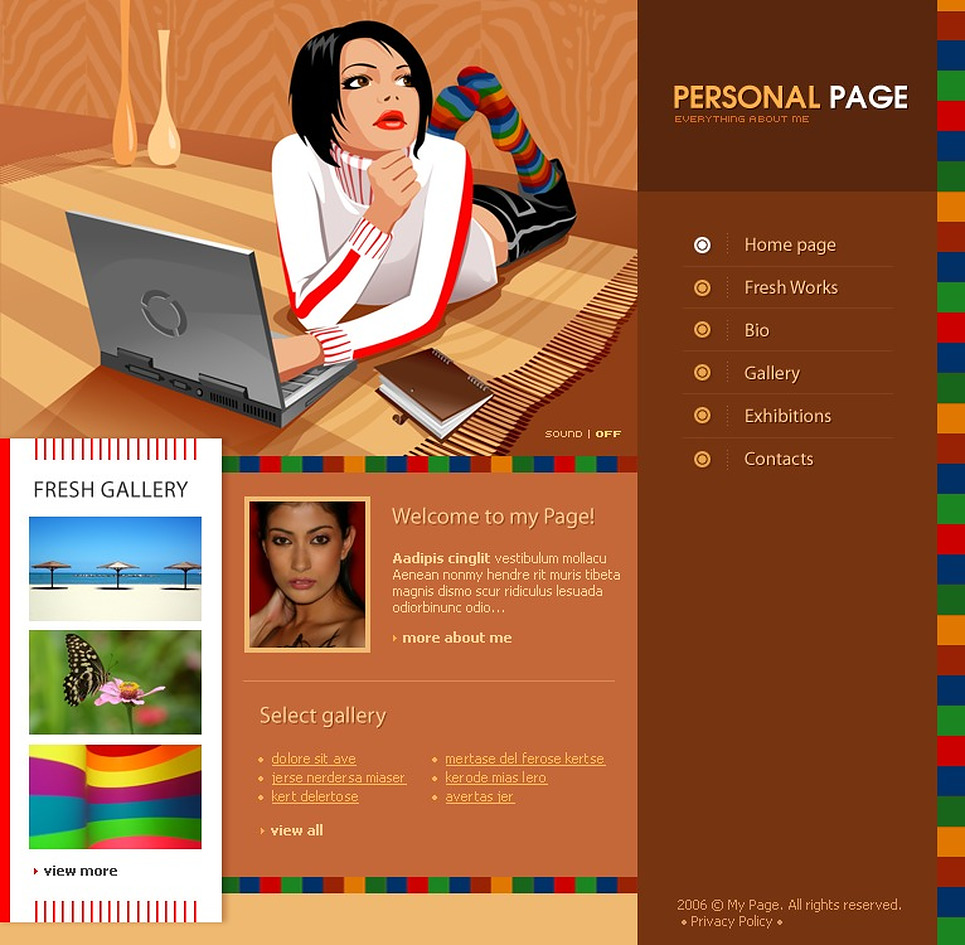 personal page flash template web design templates