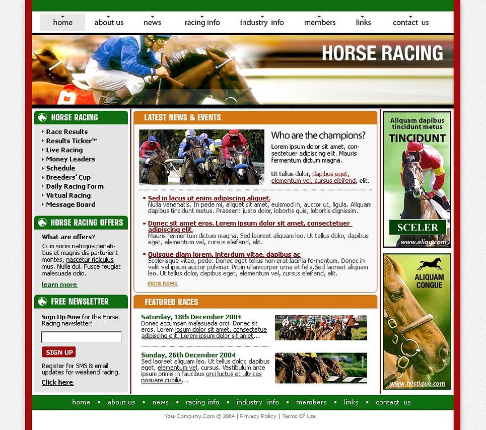 Horse Racing PhpBB Template New Screenshots BIG