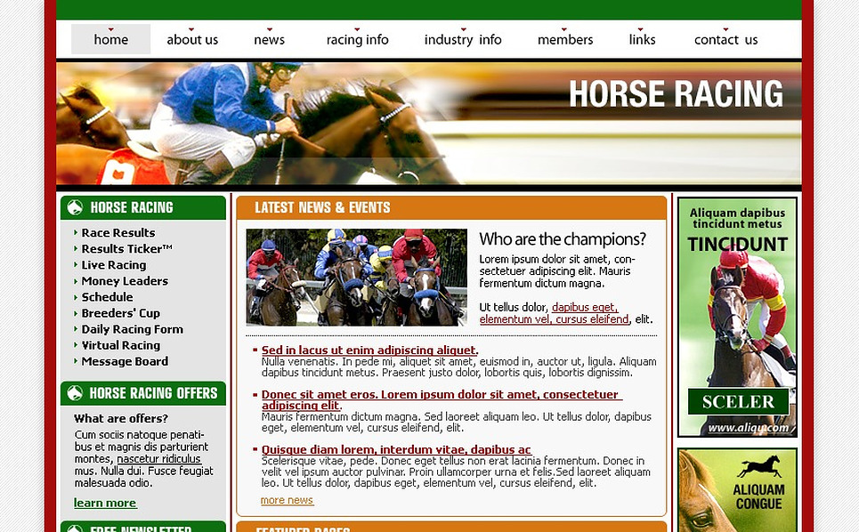 Horse Racing PhpBB Template New Screenshots BIG