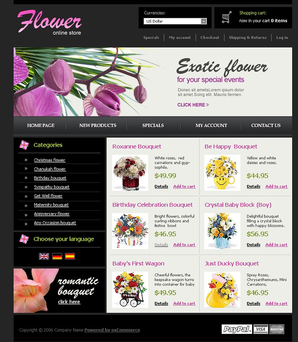 Flower Shop OsCommerce Template New Screenshots BIG