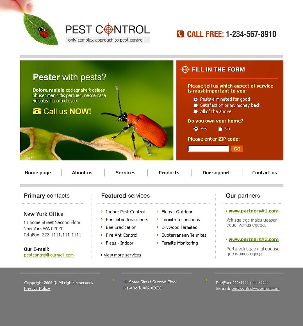 pest management plan template - pest control website template web design templates