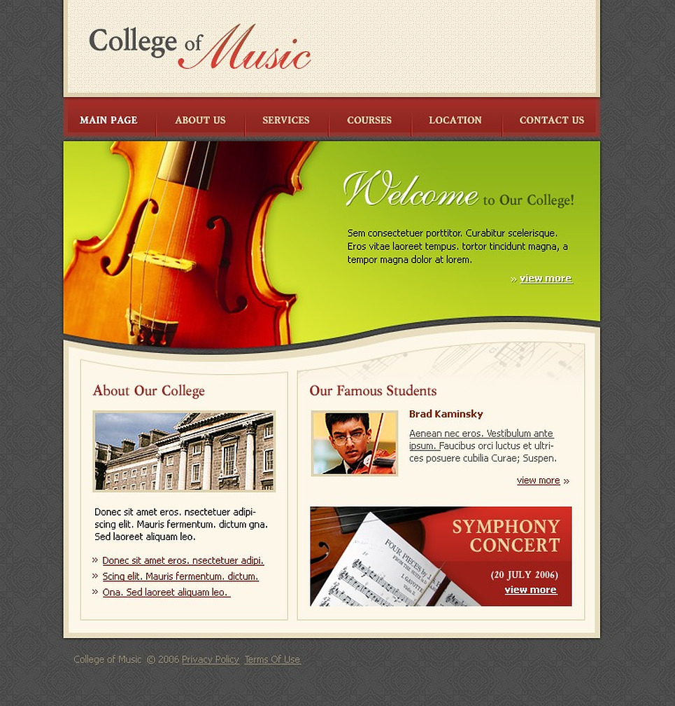 Music School Website Template New Screenshots BIG