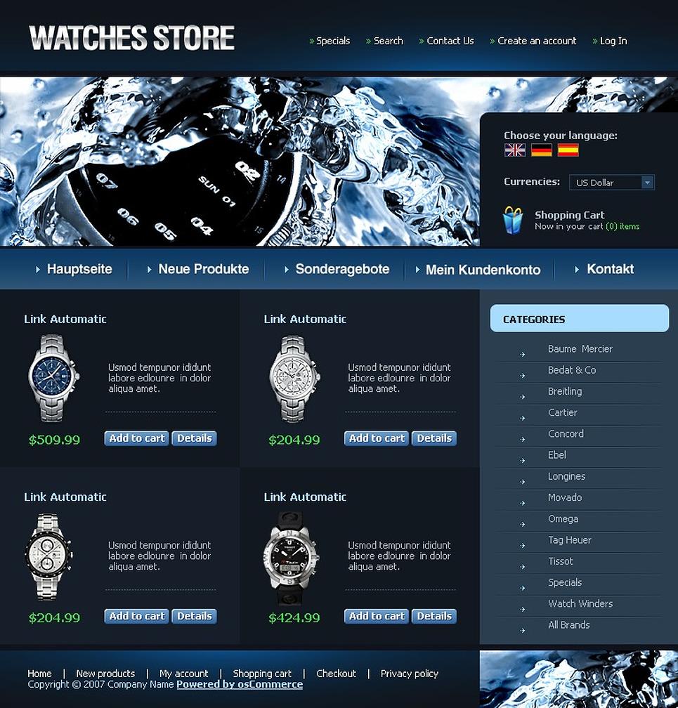 Aqua Delight Watch Store Template