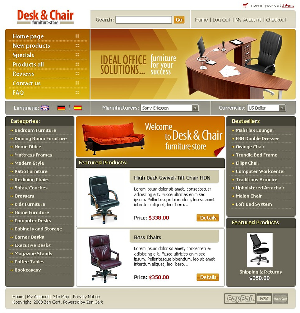 Furniture ZenCart Template New Screenshots BIG