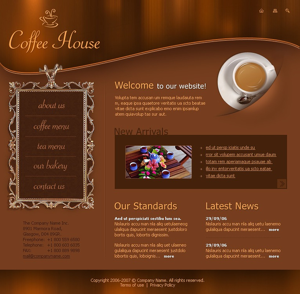 coffee shop flash template web design templates website templates download coffee shop flash. Black Bedroom Furniture Sets. Home Design Ideas