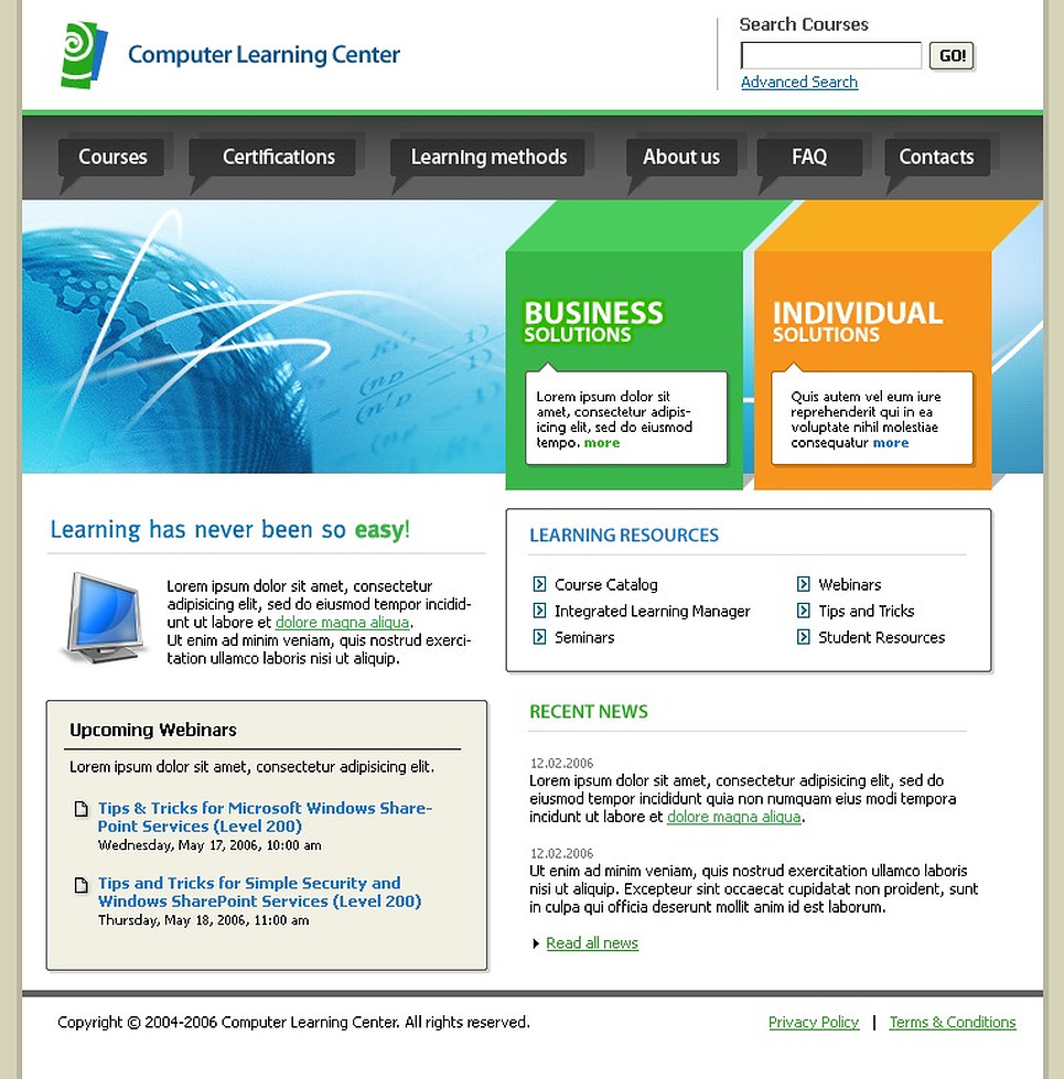 Computer Learning Center Website Template Web Design Templates Website Templates Download
