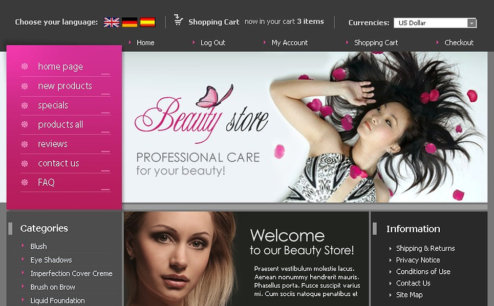 Cosmetics Store ZenCart Template New Screenshots BIG