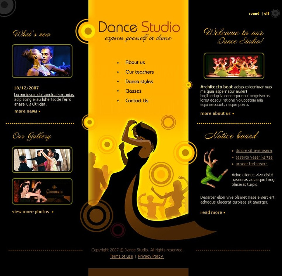 Dance Studio Flash Template 12984