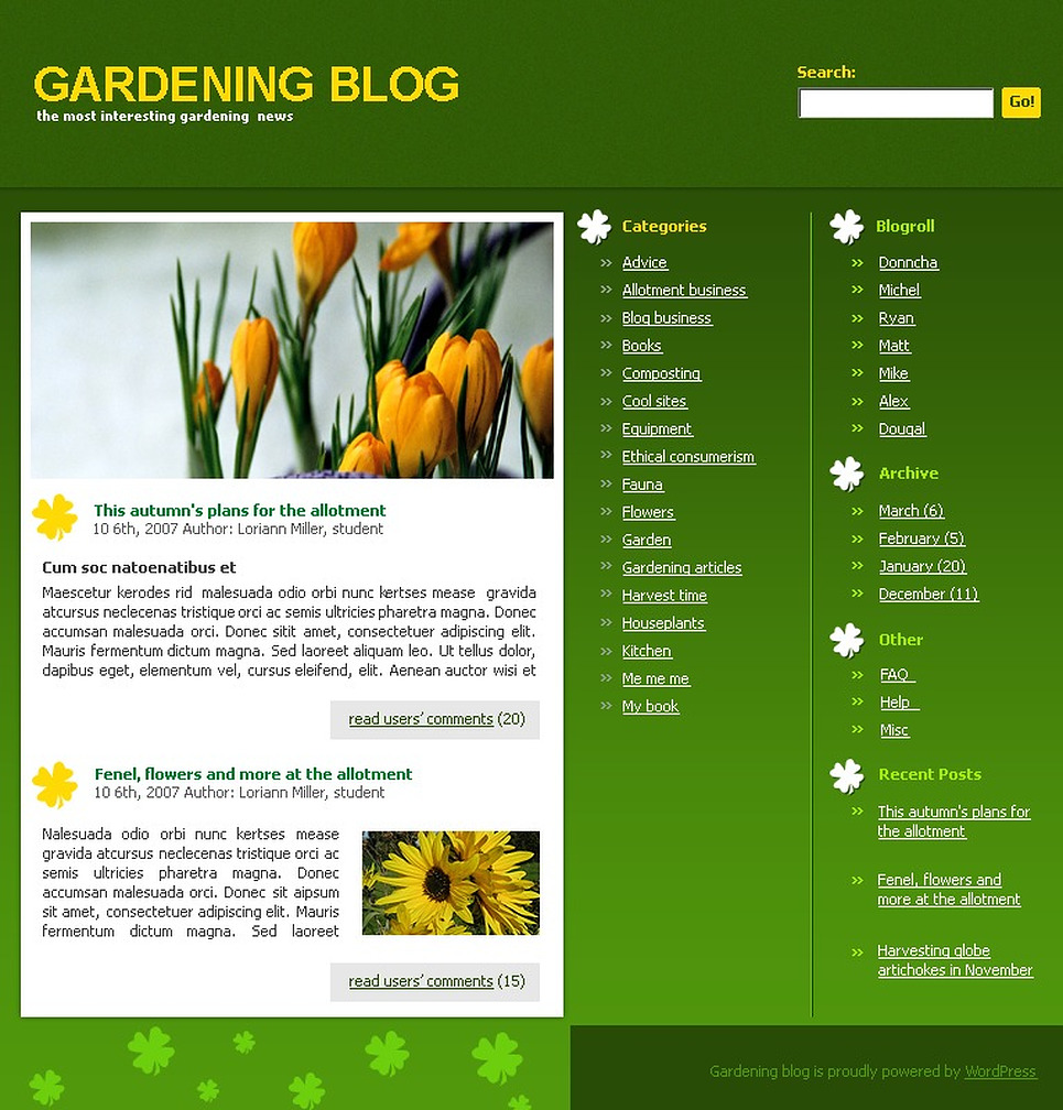 Garden Design WordPress Theme New Screenshots BIG