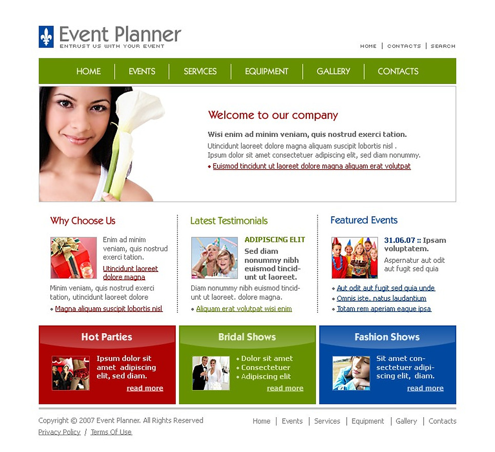 Event planner website template 13109 for Planner site