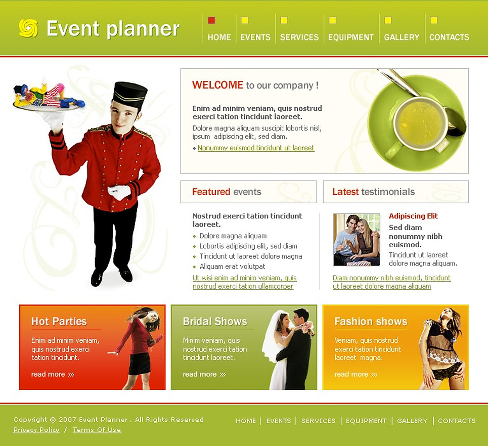 Event planner website template 13288 for Planner site