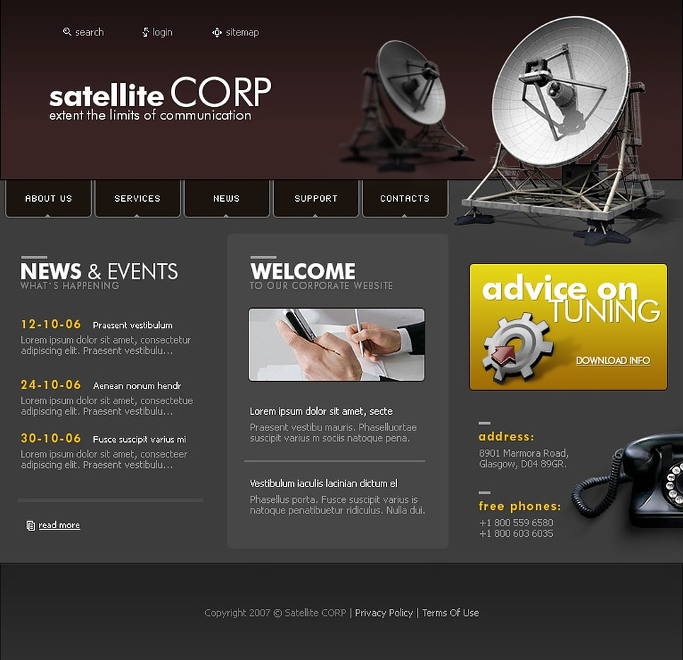 Satellite TV Website Template New Screenshots BIG