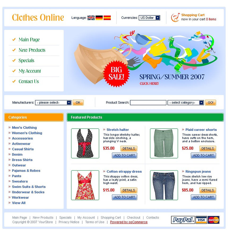Apparel OsCommerce Template New Screenshots BIG