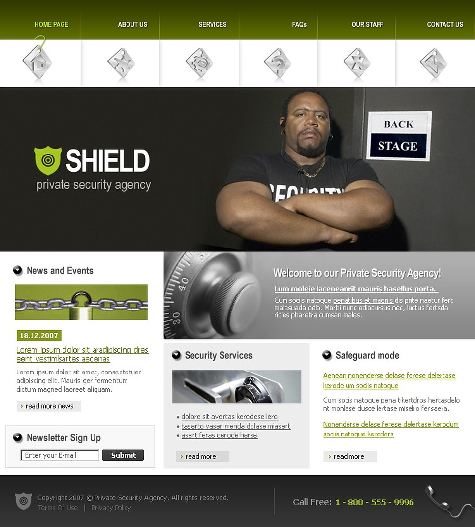 Private Security Team Website Template - Web Design Templates ...