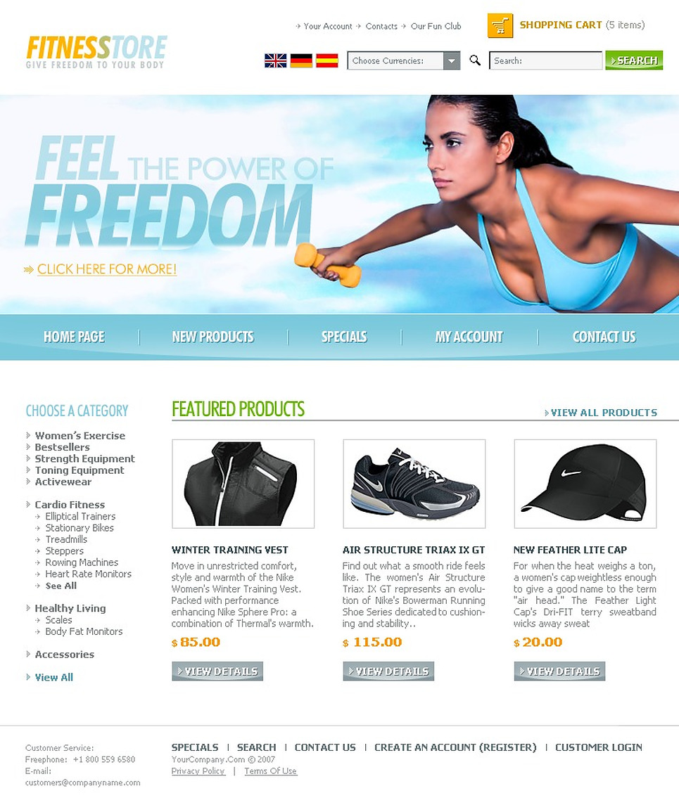 Sports Store Website Template New Screenshots BIG
