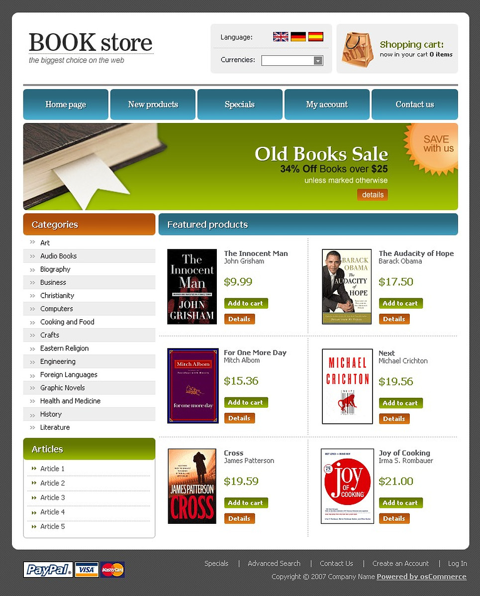 Book store oscommerce template web design templates for Website design for online shopping