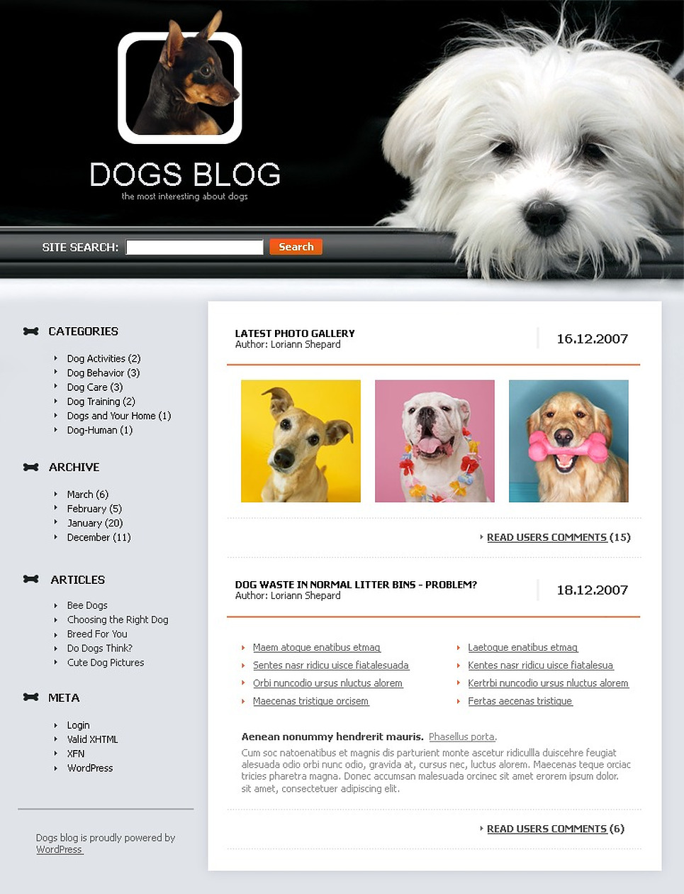 Dog WordPress Theme New Screenshots BIG