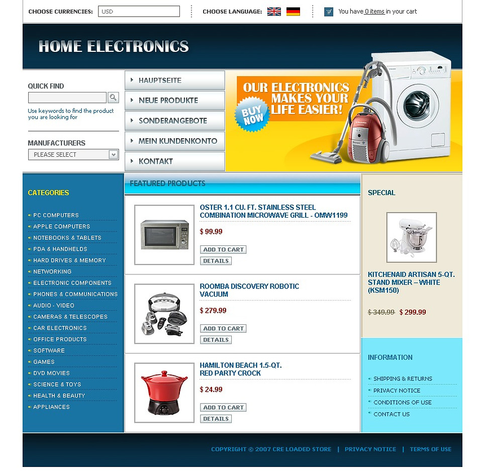 Electronics Store CRE Loaded Template New Screenshots BIG