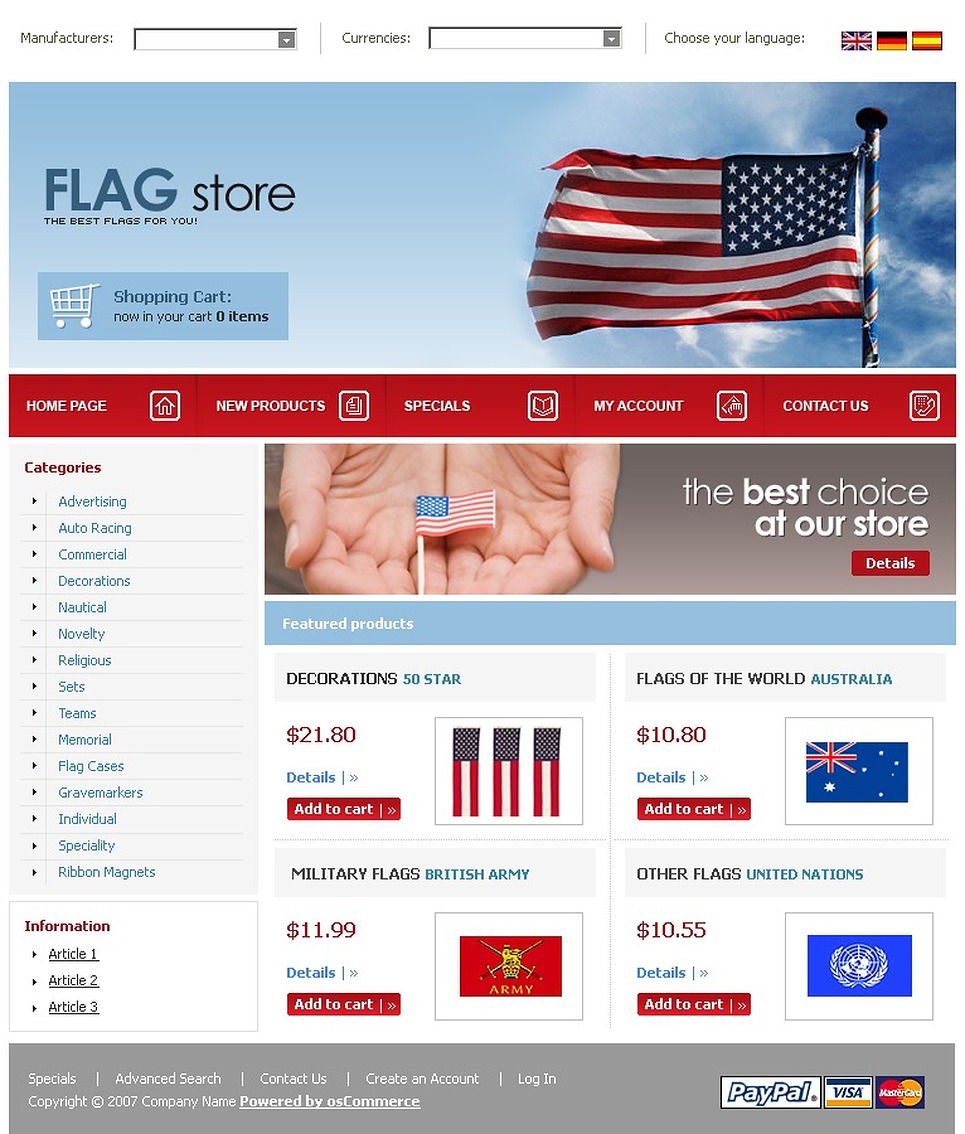 Politics OsCommerce Template New Screenshots BIG